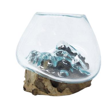 glass on wood art bowl