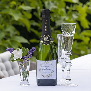 first anniversary personalised label champagne