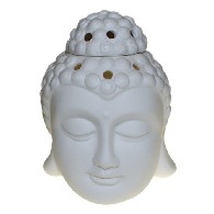 Oil Burner - White Ceramic - Buddha Head