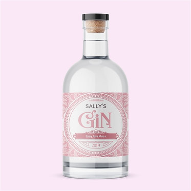 personalised label pink gin