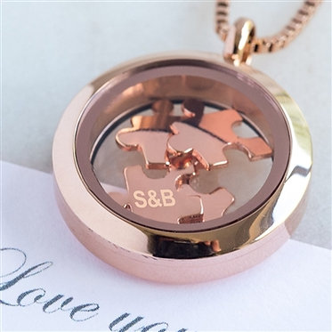 love you to pieces necklace rose gold