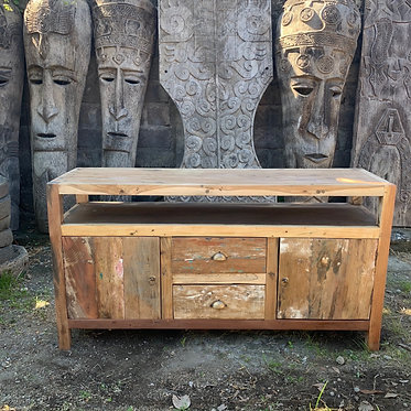 sideboard cabinet distressed recycled wood TV
