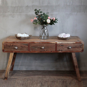 recycled distressed console table