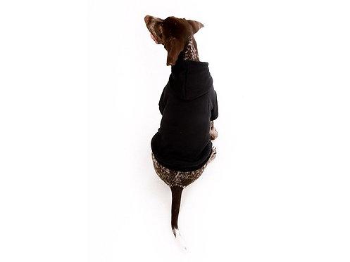 black hoodie dog