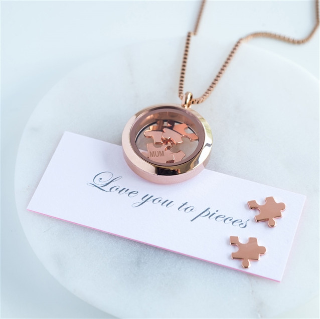 Rose gold Love you to pieces necklace 1.