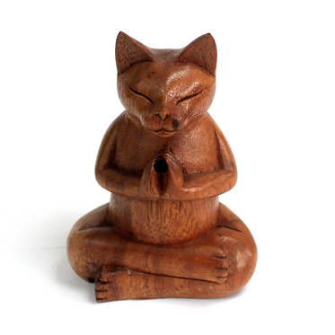 hand carved wooden cat incense burner