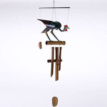 Bamboo windchime with brightly coloured bird