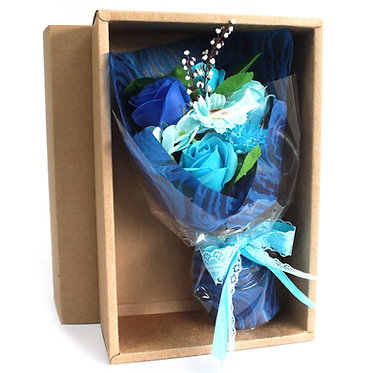 soap flower blue boxed