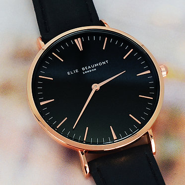 ladies black leather rose gold engraved watch
