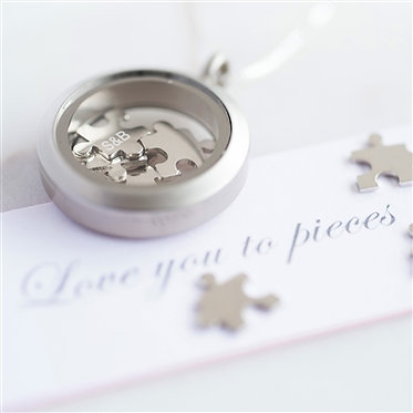 love you to pieces necklace silver