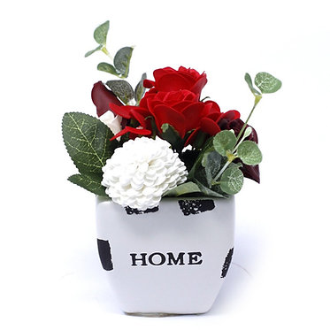 Petite Pot Bouquet Soap Flowers - Rich Reds