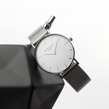 mens silver engraved watch
