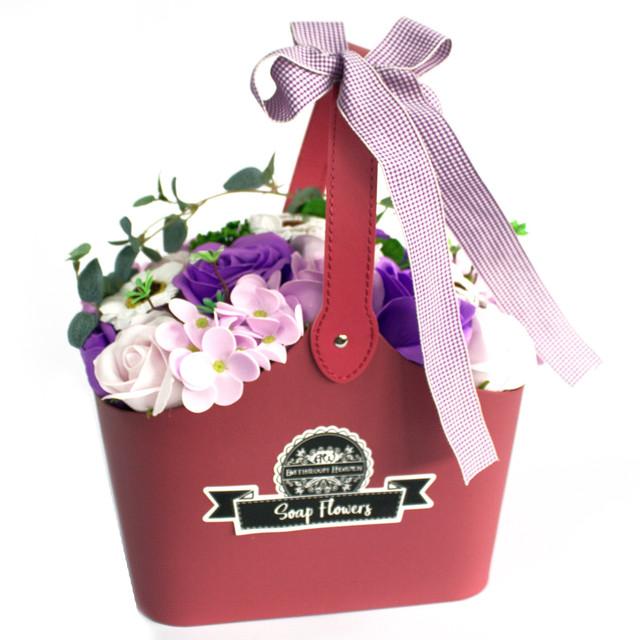 basket soap flower bouquet lilac 1