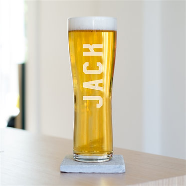 engraved long beer glass