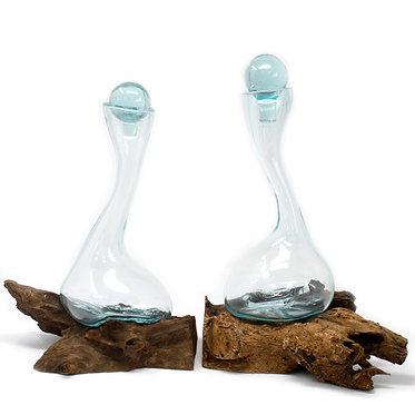 two wine decanters handmade