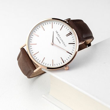 special gift engraved watch gold brown leather