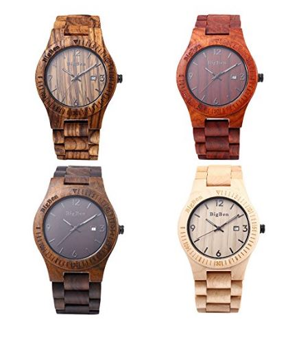 Big Ben Eco Wood Watch in 4 real wood types - Maple, Zebrawood, Ebony, Sandalwood.