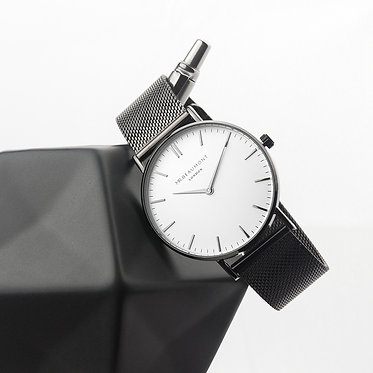 Men's Metallic Charcoal Grey Watch with White Dial - Personalised