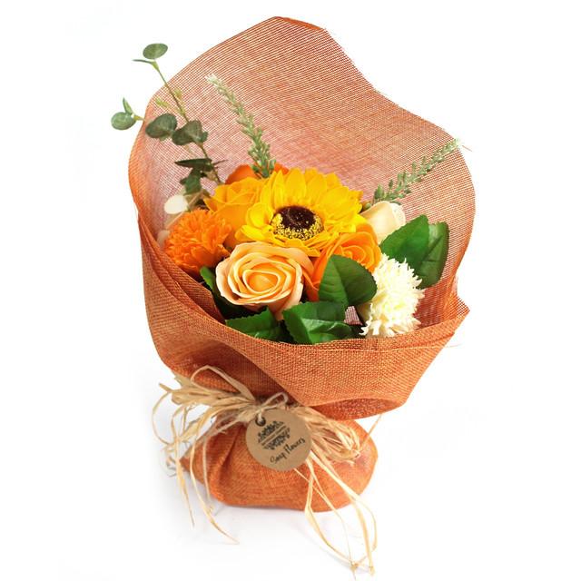 standing soap flower bouquet orange 1