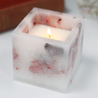 glowing rose candle