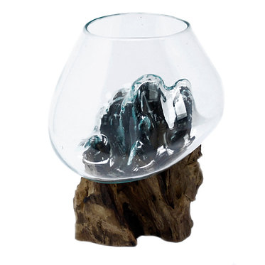 glass bowl on wood
