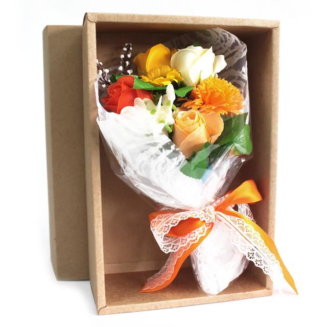 boxed hand soap flower bouquet orange 1.