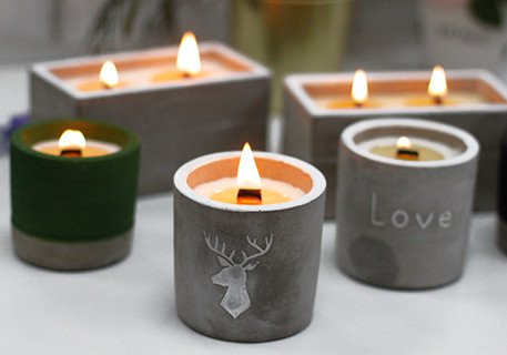 Concrete & Wooden Wick Soy Candles