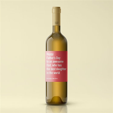 white personalised wine label