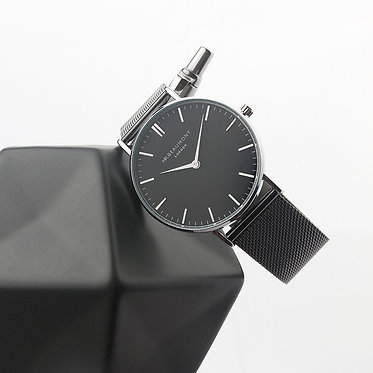 charcoal grey black face watch engraved