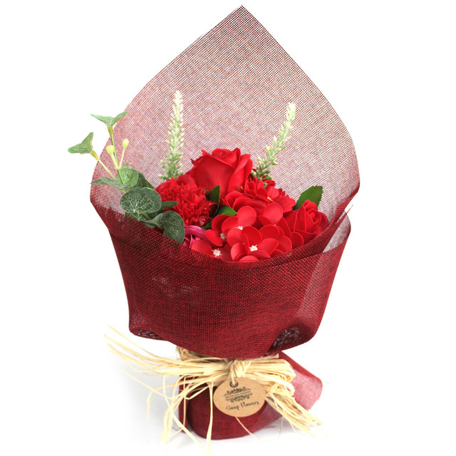 standing soap flower bouquet red 1
