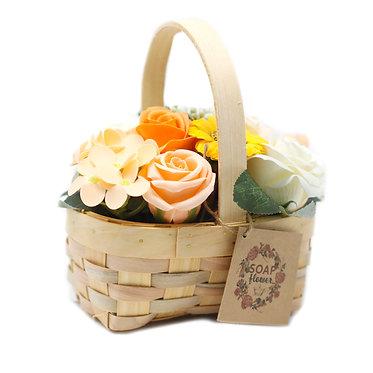 wicker basket soap flower bouquet