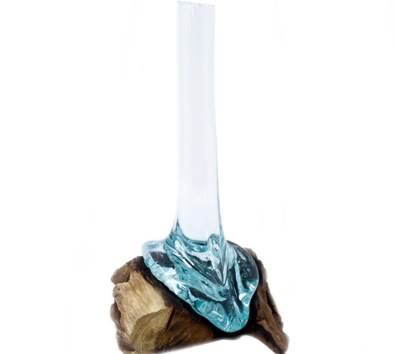 Molten glass on wood vase