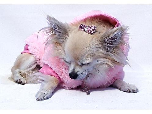 pink furry dog coat