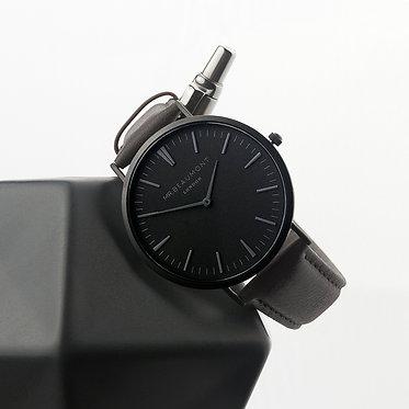 leather watch strap ash colour black face engraved