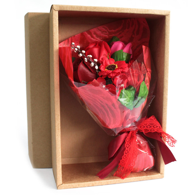 boxed hand soap flower bouquet red 1