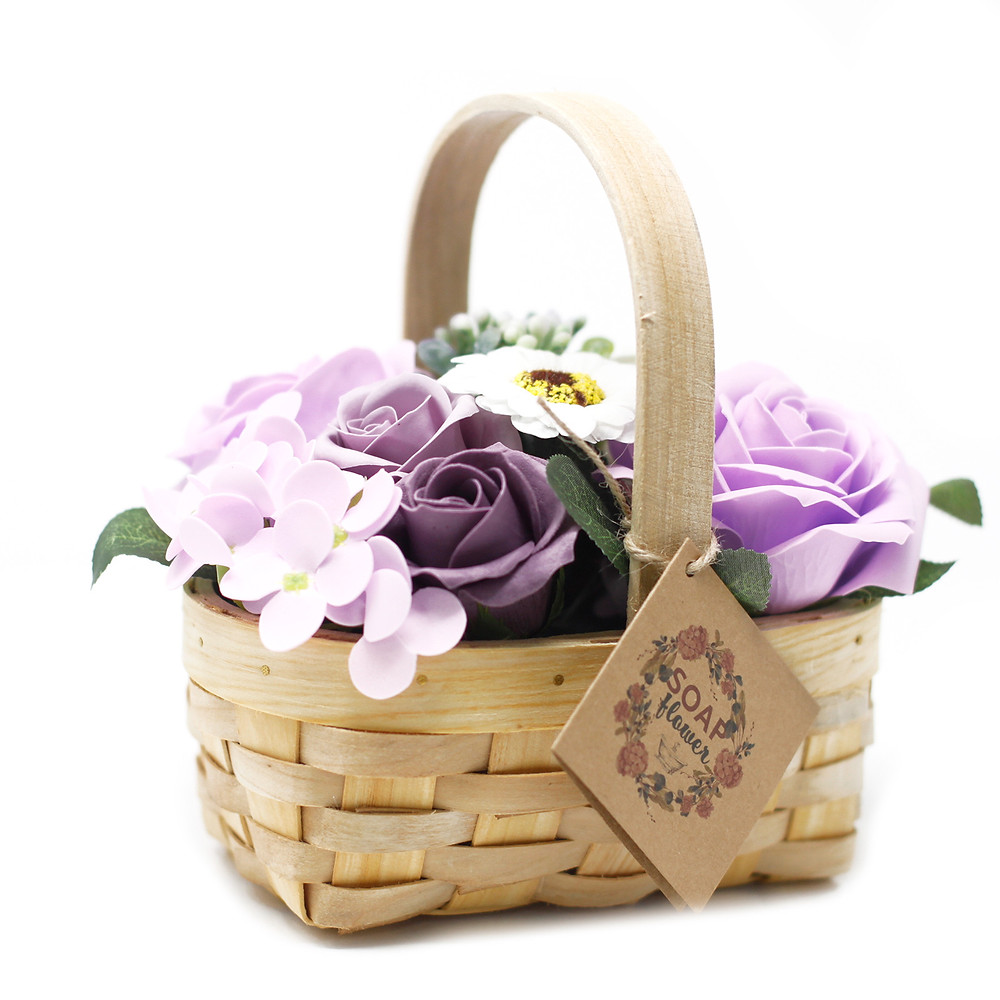 wicker basket soap flower bouquet