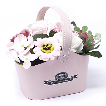 pretty pink soap flower baskets