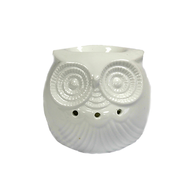 white ceramic small owl oil burner