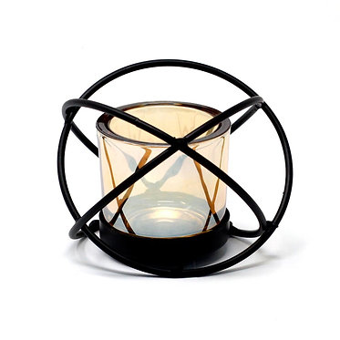 tea light metal glass holder