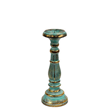 turquoise and gold candle stand