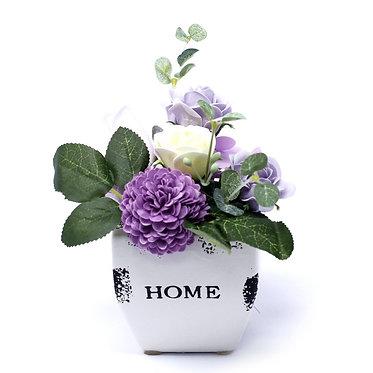 flower pot of soap flowers