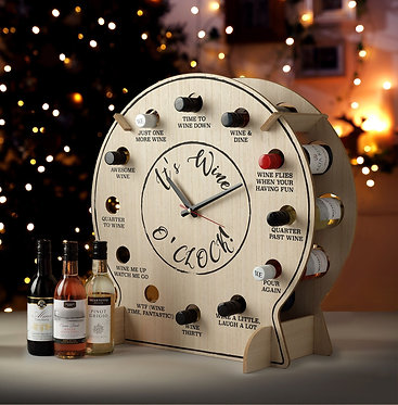 wooden clock with wine