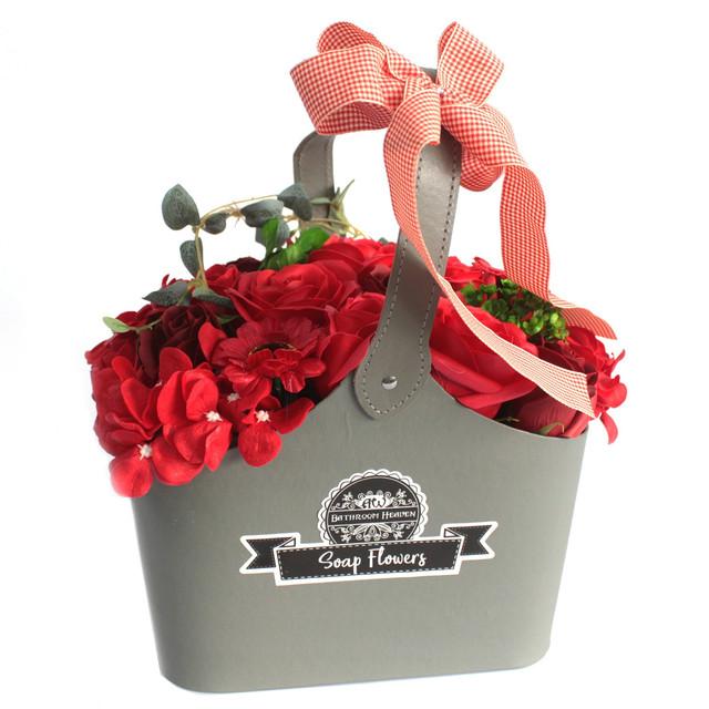 basket soap flower bouquet red 1