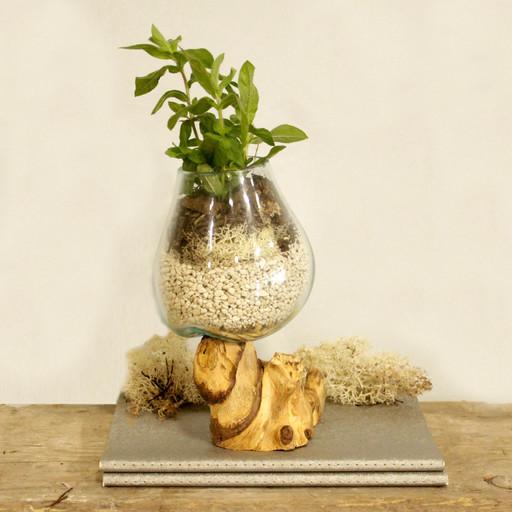 Molten glass on wood bowl medium