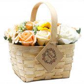 vintage soap flower basket gift