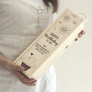 happy birthday wooden gift wine box