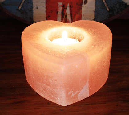 heart rock candle holder