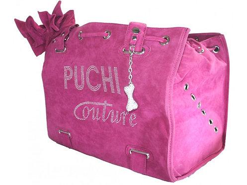 pink suede dog bag