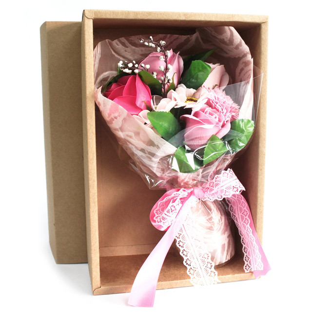 boxed hand soap flower bouquet pink 1