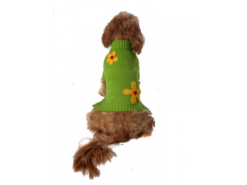 Lime Flower-Power Dog Jumper